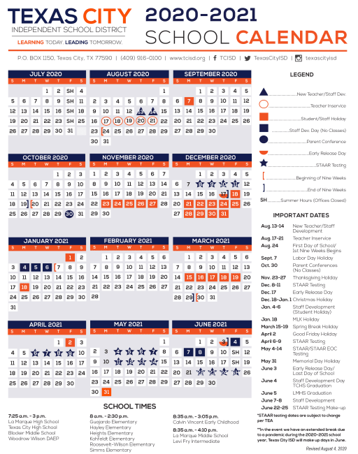 Edinburg Cisd Calendar 2021-2022 Calendar   Texas City Independent School District
