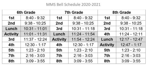 Sbisd Calendar 2021 Bell Schedules   Memorial Middle School
