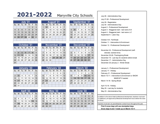 2021 22 Calendar (print ready)   Maryville City Schools