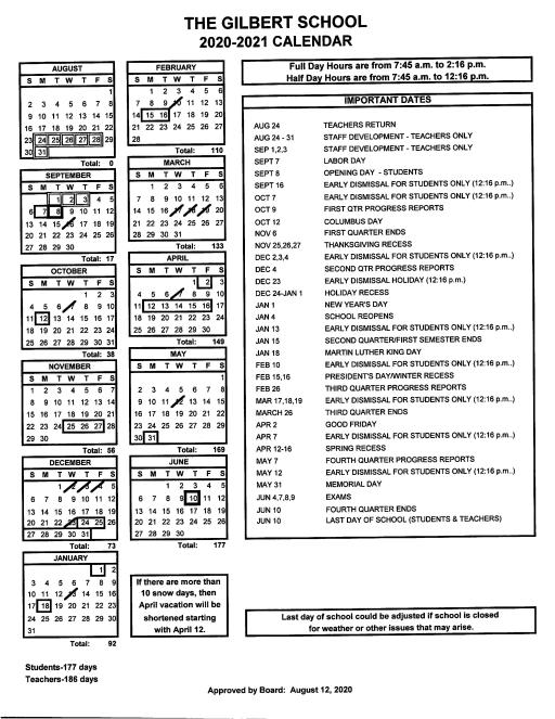 Wsesu Calendar 2021-2022 2020 2021 Printable School Calendar   The Gilbert School
