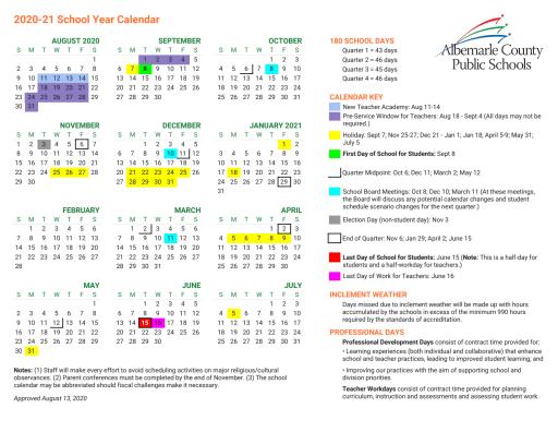 Calendars   Albemarle County School District