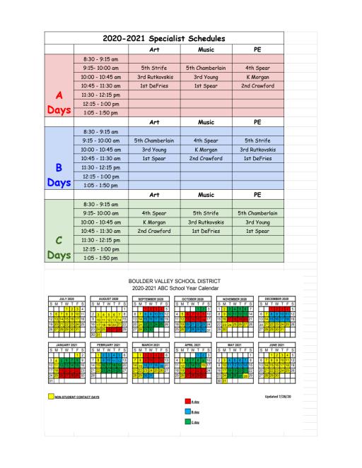 Bvsd 2021-22 Calendar Calendar   Flatirons Elementary School