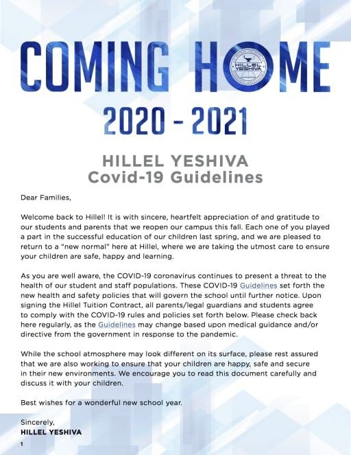coming home covid 19 guidelines hillel yeshiva coming home covid 19 guidelines