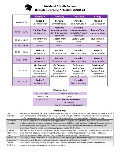 Lwsd Calendar 2022.Schedules Kirkland Middle School