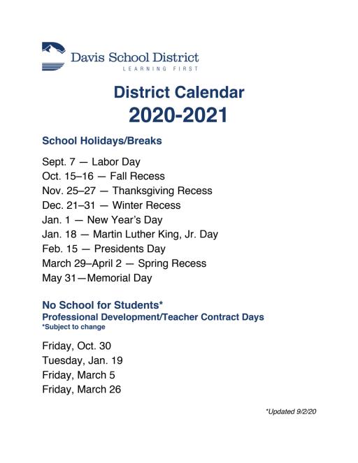 Davis School District Calendar 2021 Schedules   Fremont Elementary School