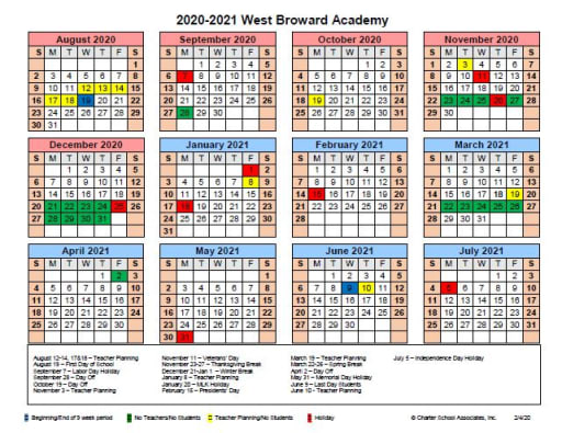 Broward College Calendar 2022.Calendar West Broward Academy