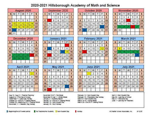 Hillsborough School Calendar 2021-22 Calendar   Hillsborough Academy of Math and Science K 8