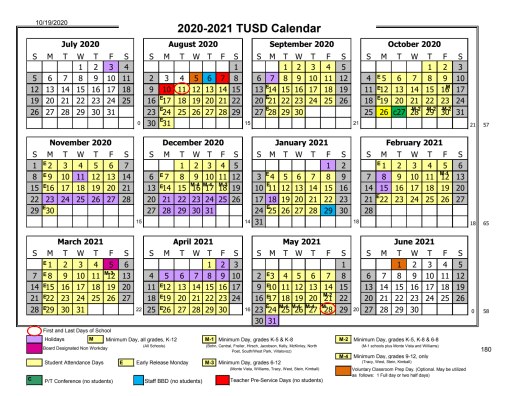 Tusd Calendar 2021 District Calendar   Tracy Unified School District