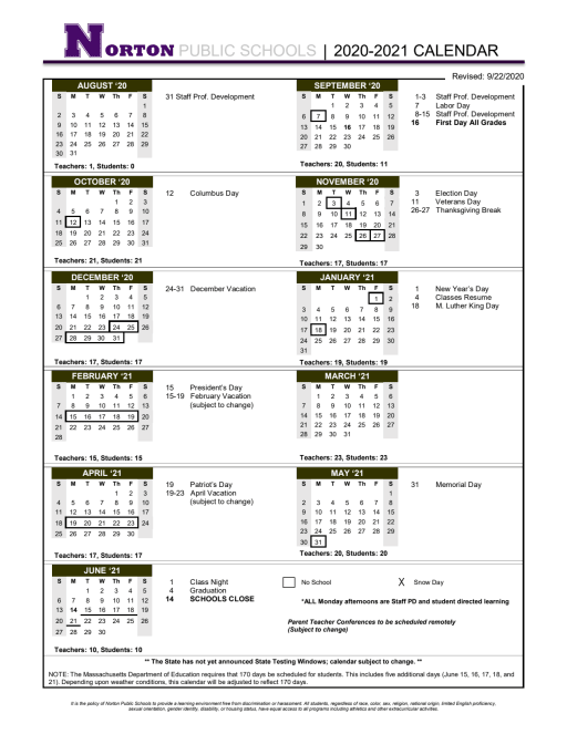 Printable School Calendar   Norton School District