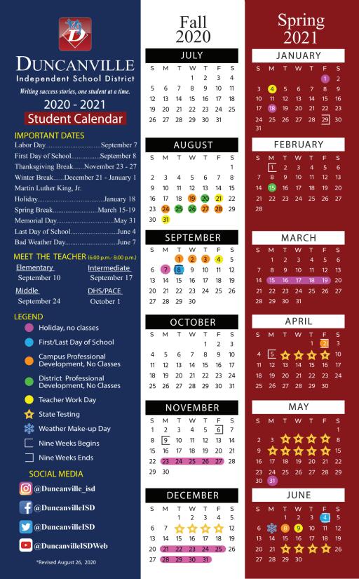 Dallas Isd Calendar 2022.Calendar Duncanville Independent School District