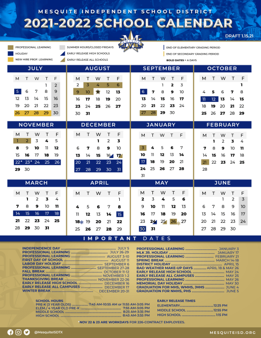 Midland Isd Calendar 2021-2022 Background