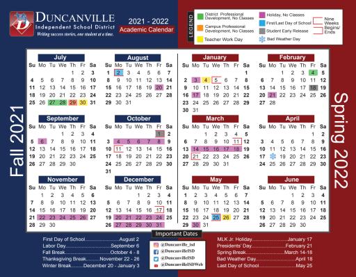 Spanish Calendar 2022.2021 2022 Calendar Spanish Duncanville Independent School District