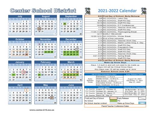 Photos of Kcumb Academic Calendar 2021-2022