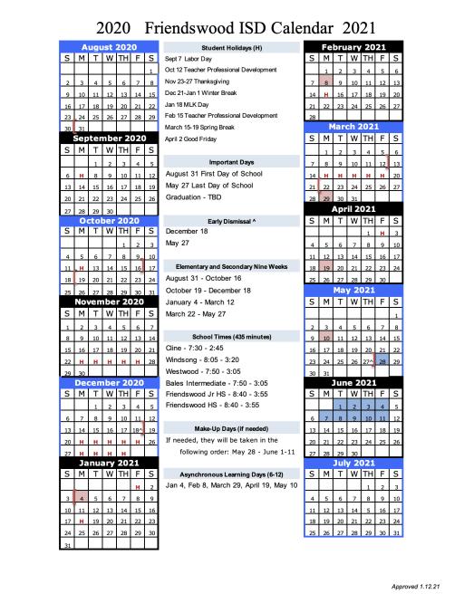 Rhodes College Calendar 2022.Academic Calendar Friendswood Isd