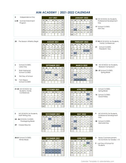 Yale 2022 Calendar.Calendar Aim Academy