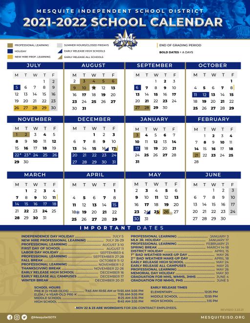 Dallas Isd Calendar 2022 23.District Calendar Mesquite Isd