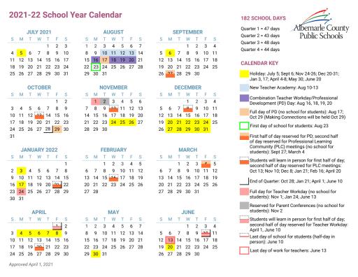 Vcu Calendar 2022.2021 22 Calendar Development Albemarle County School District