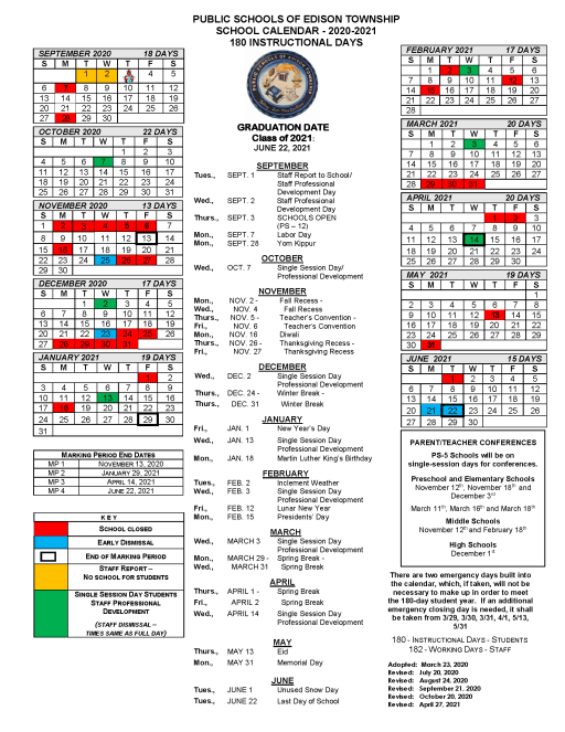 Stevens Academic Calendar 2022.Calendars Public Schools Of Edison Township