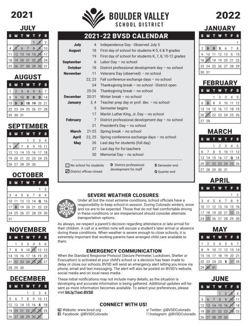 Calendar Boulder Valley School District