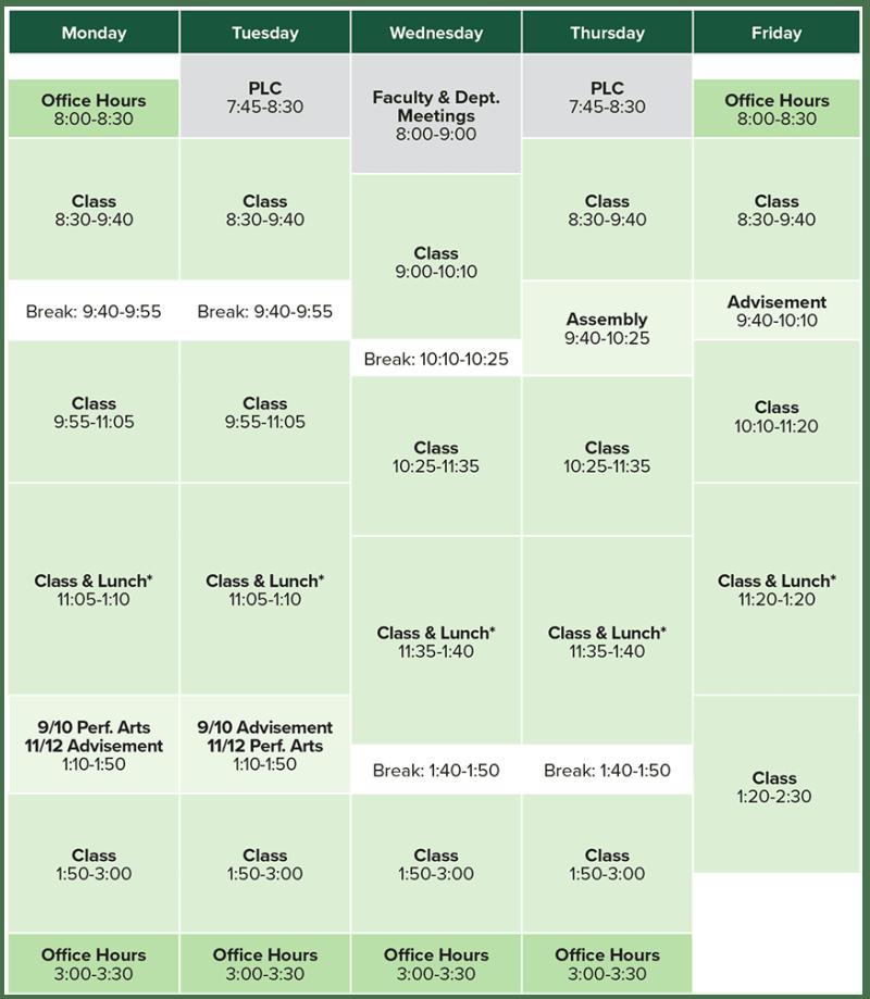 class schedule westminster schools