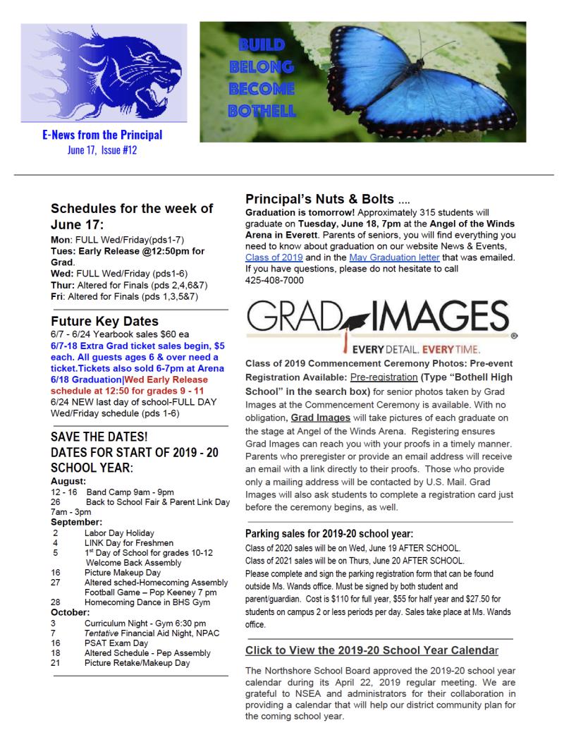 Northshore School District Calendar.Principal Newsletter Bothell High