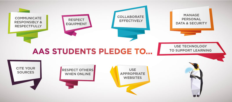 digital citizenship poster with student pledges