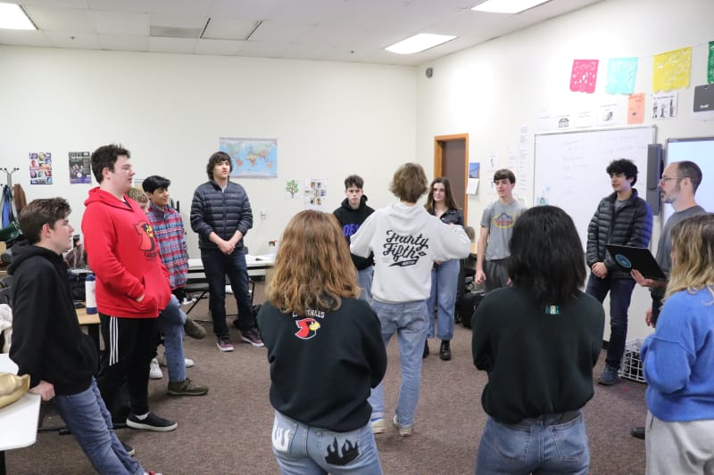 Students in James Watson's Seattle Academy Spanish 2 Class participating in a language circle.