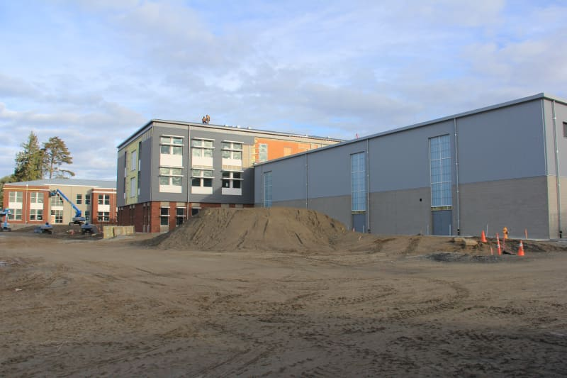Looking at the southwest corner of the new HHS, from l. to r. are the north wing, south wing and the gym.