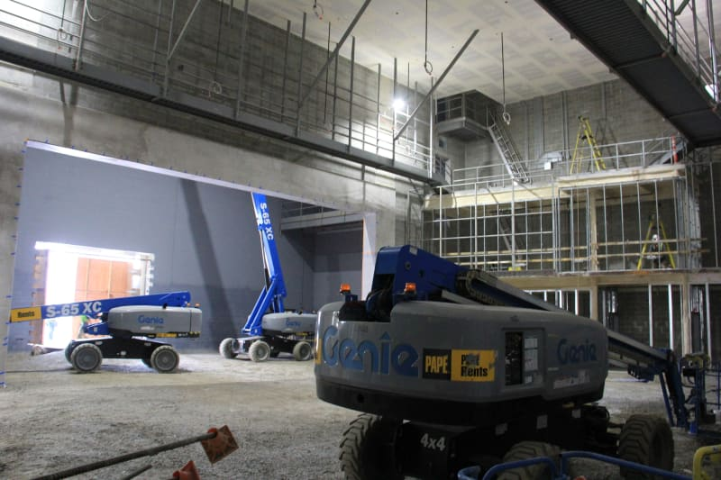 View of theater at HHS under construction (January 14, 2021).
