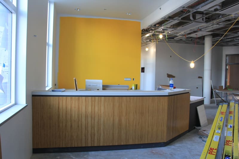 View of reception area off of north entrance (January 14, 2021).