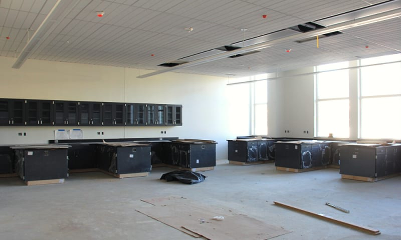 View of science lab classroom with cabinets being installed (January 14, 2021).