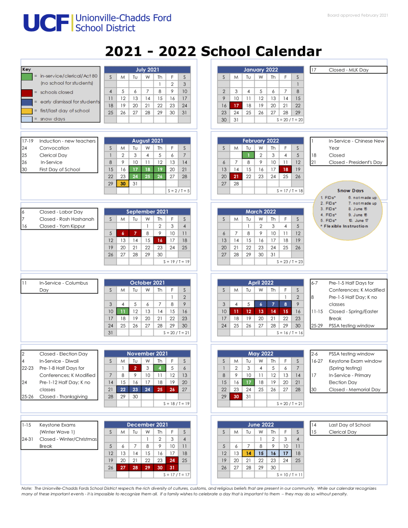 Ucf Calendar Fall 2022.News Unionville Chadds Ford School District