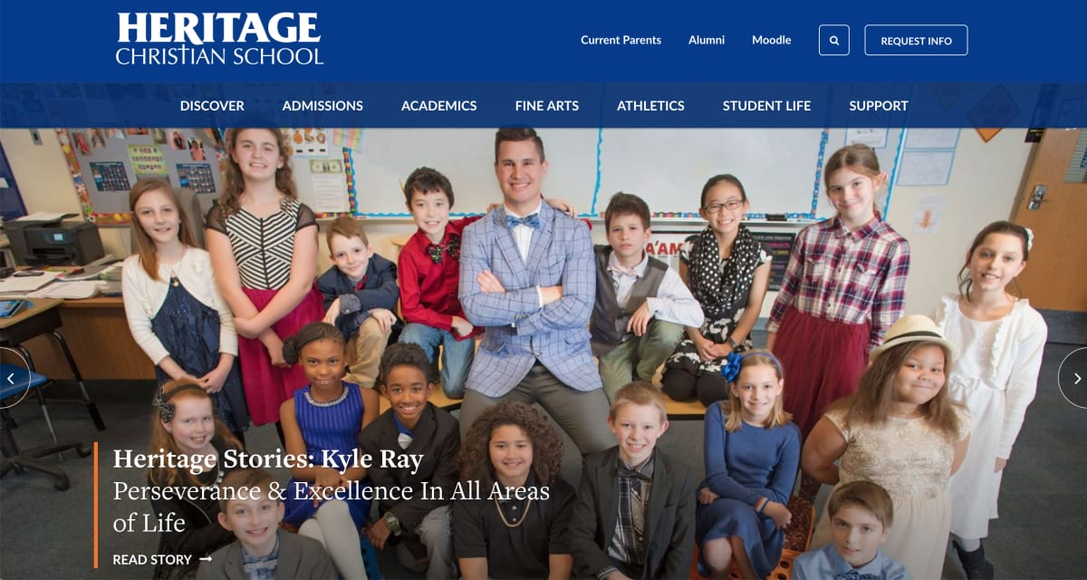Heritage Christian School homepage screenshot