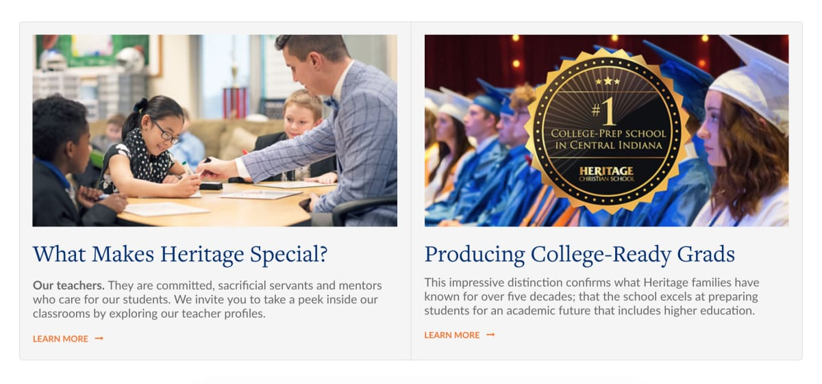 """Heritage Christian School homepage screenshot of """"What Makes Heritage Special?"""""""