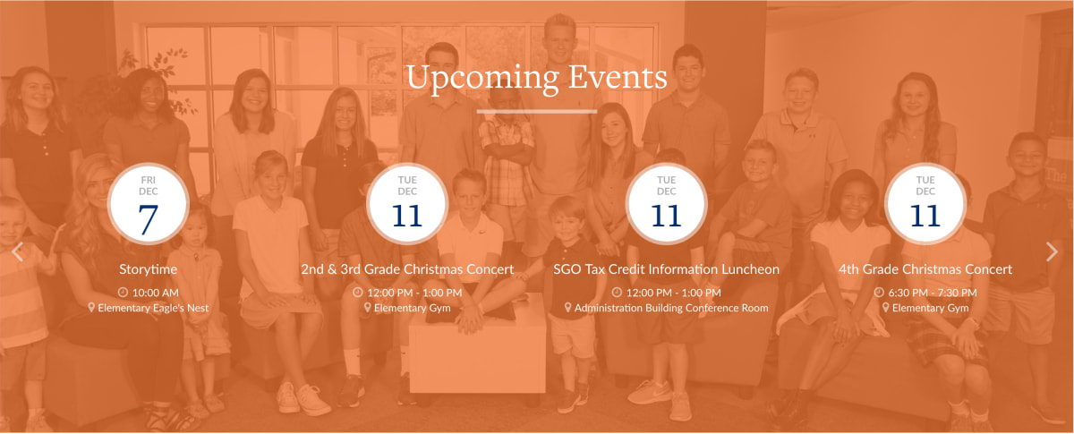 Heritage Christian School homepage calendar element