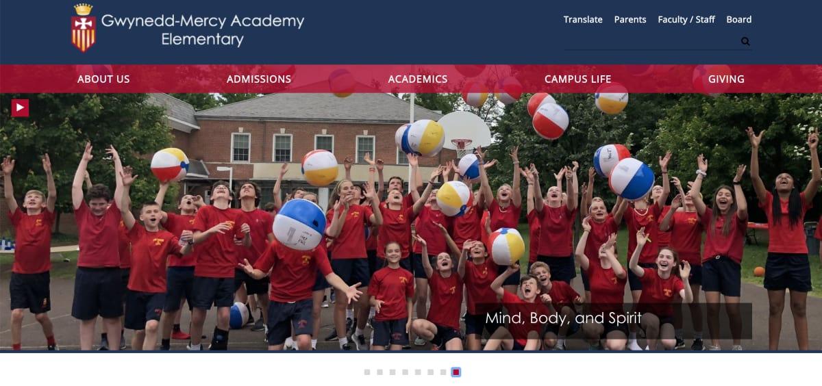Gwynedd-Mercy Academy Elementary homepage screenshot