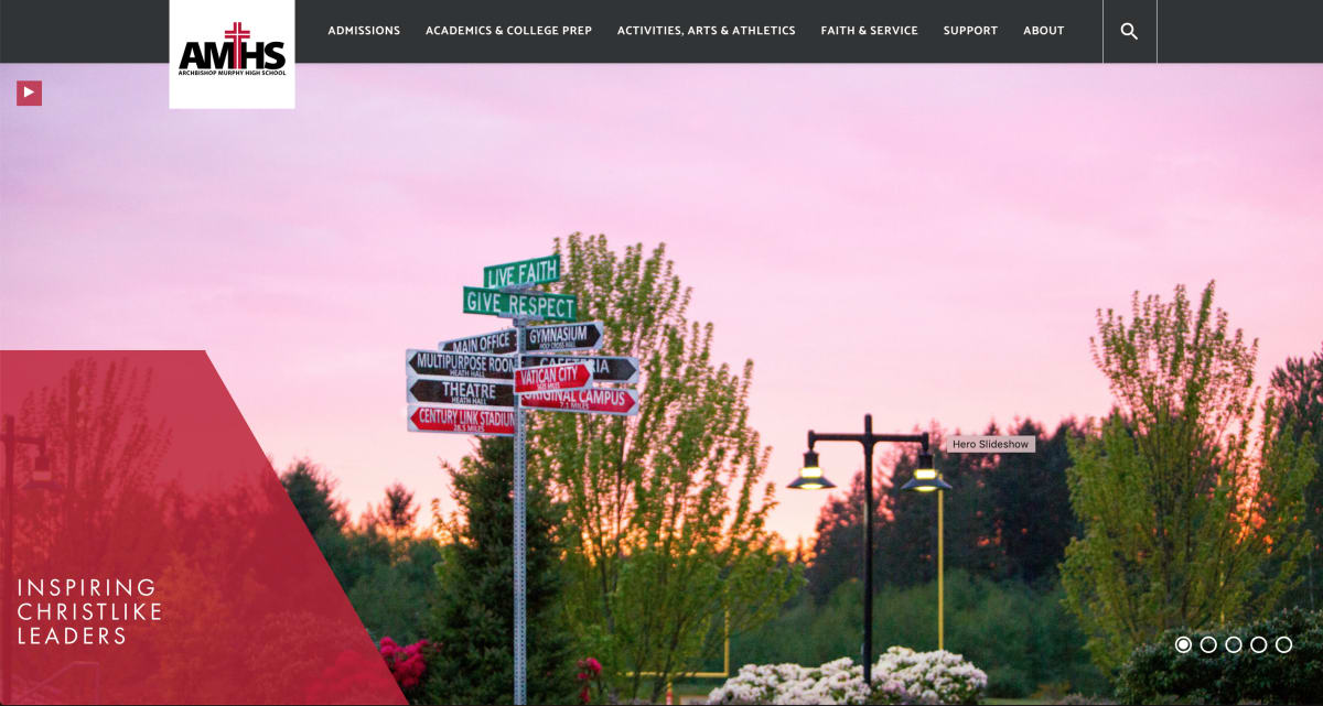 Archbishop Murphy High School homepage screenshot