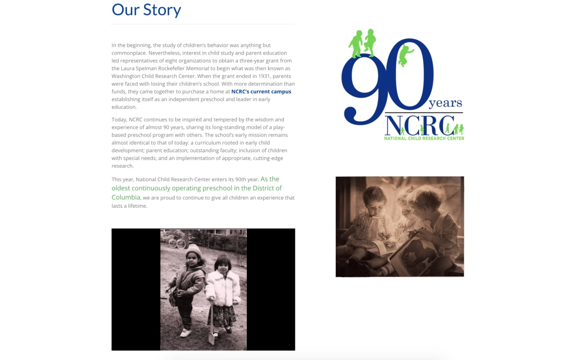 "National Child Research Center ""Our Story"" page screenshot"