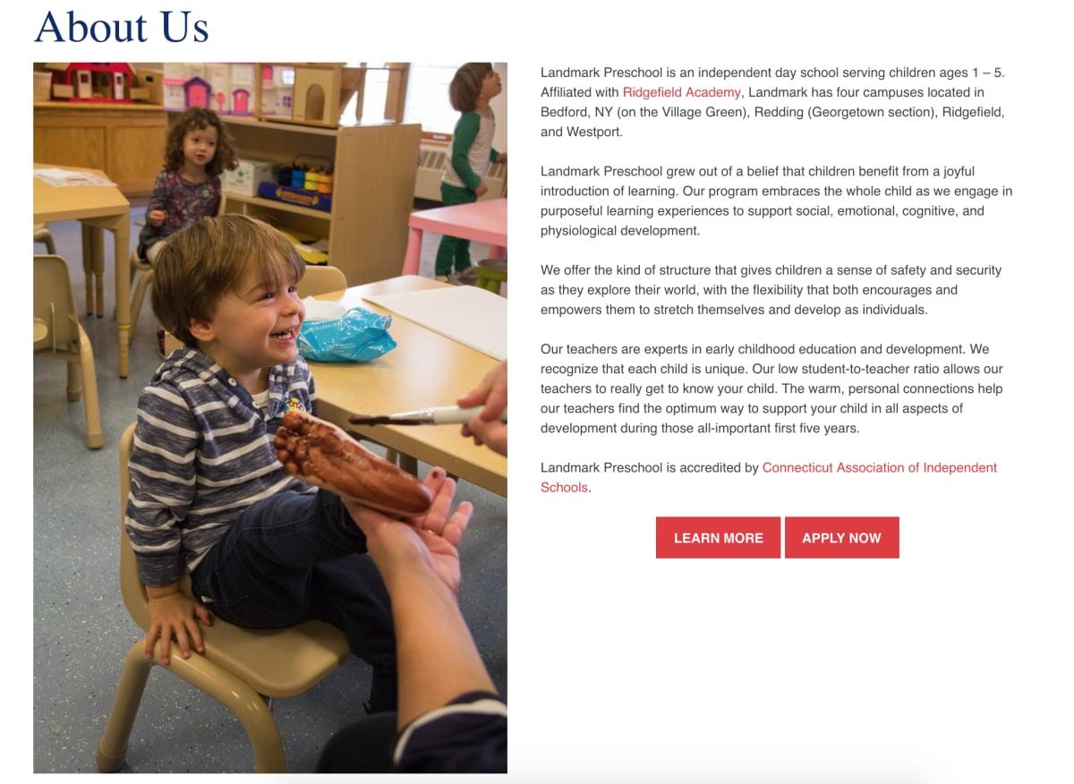 "Landmark Preschool ""About Us"" page photo of preschooler having his foot painted"