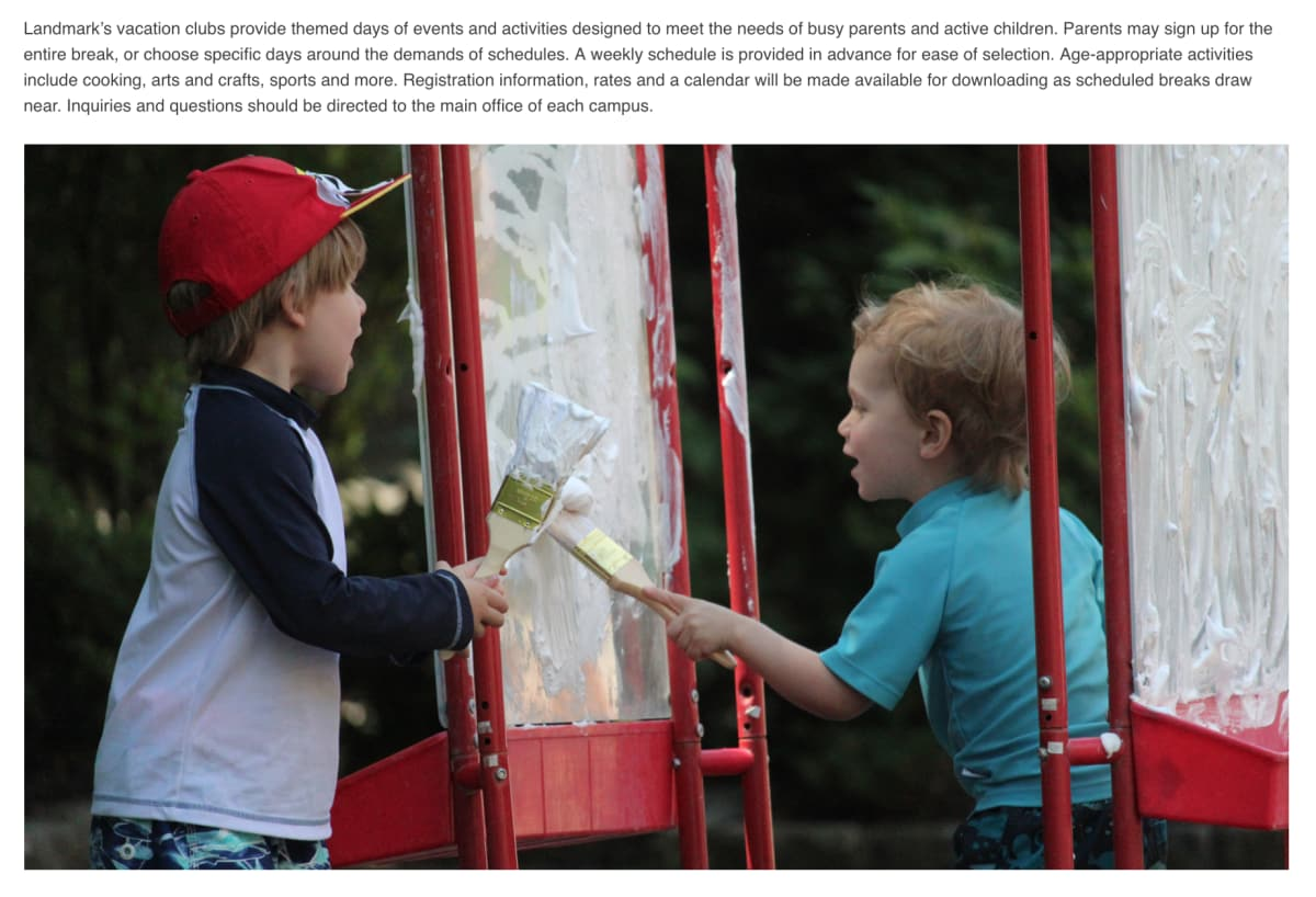 "Landmark Preschool ""Vacation Clubs"" page photo of two preschoolers painting"