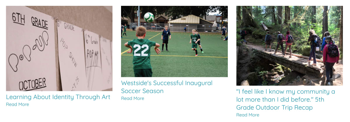 Westside School blog photos with inconsistent sizes