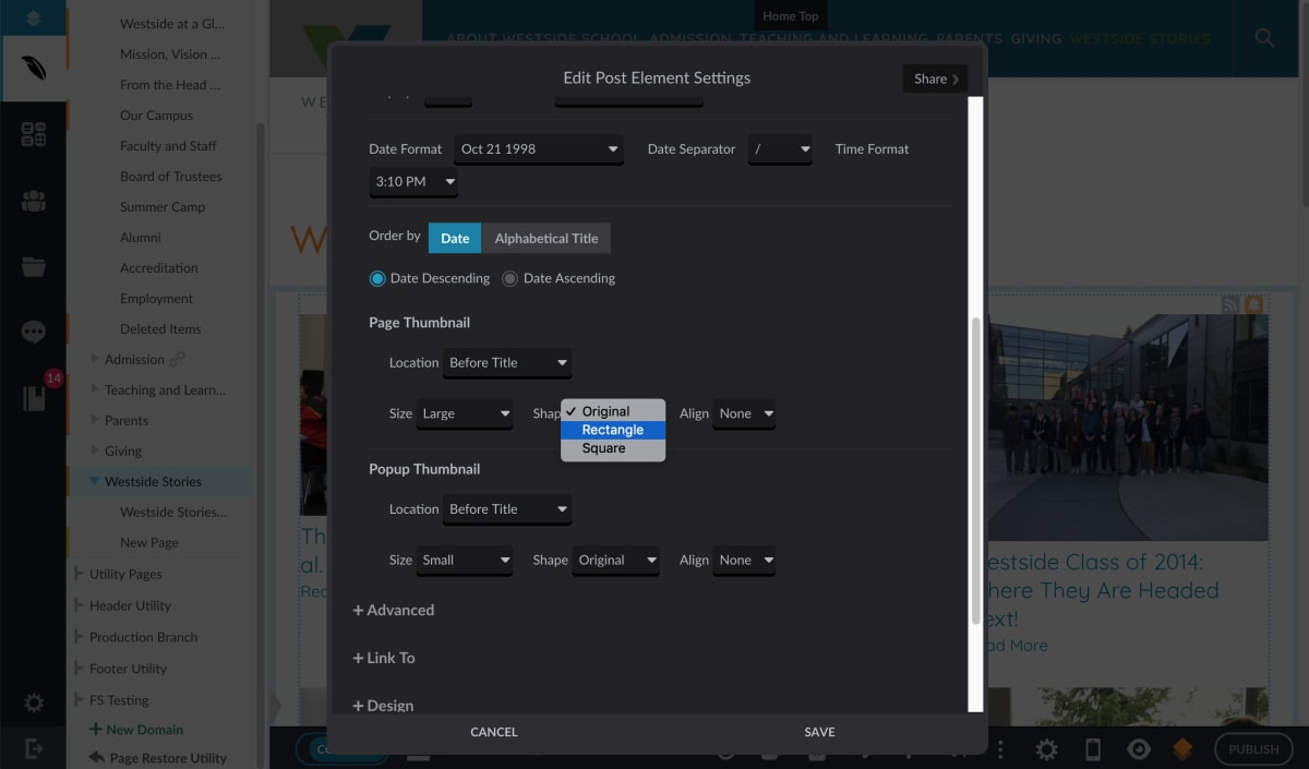 "Westside School ""Edit Post Element Settings"" menu for editing blog photo sizes"