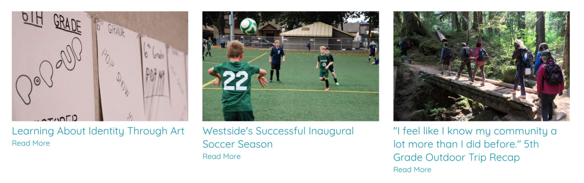 Westside School blog photos with consistent photo sizes