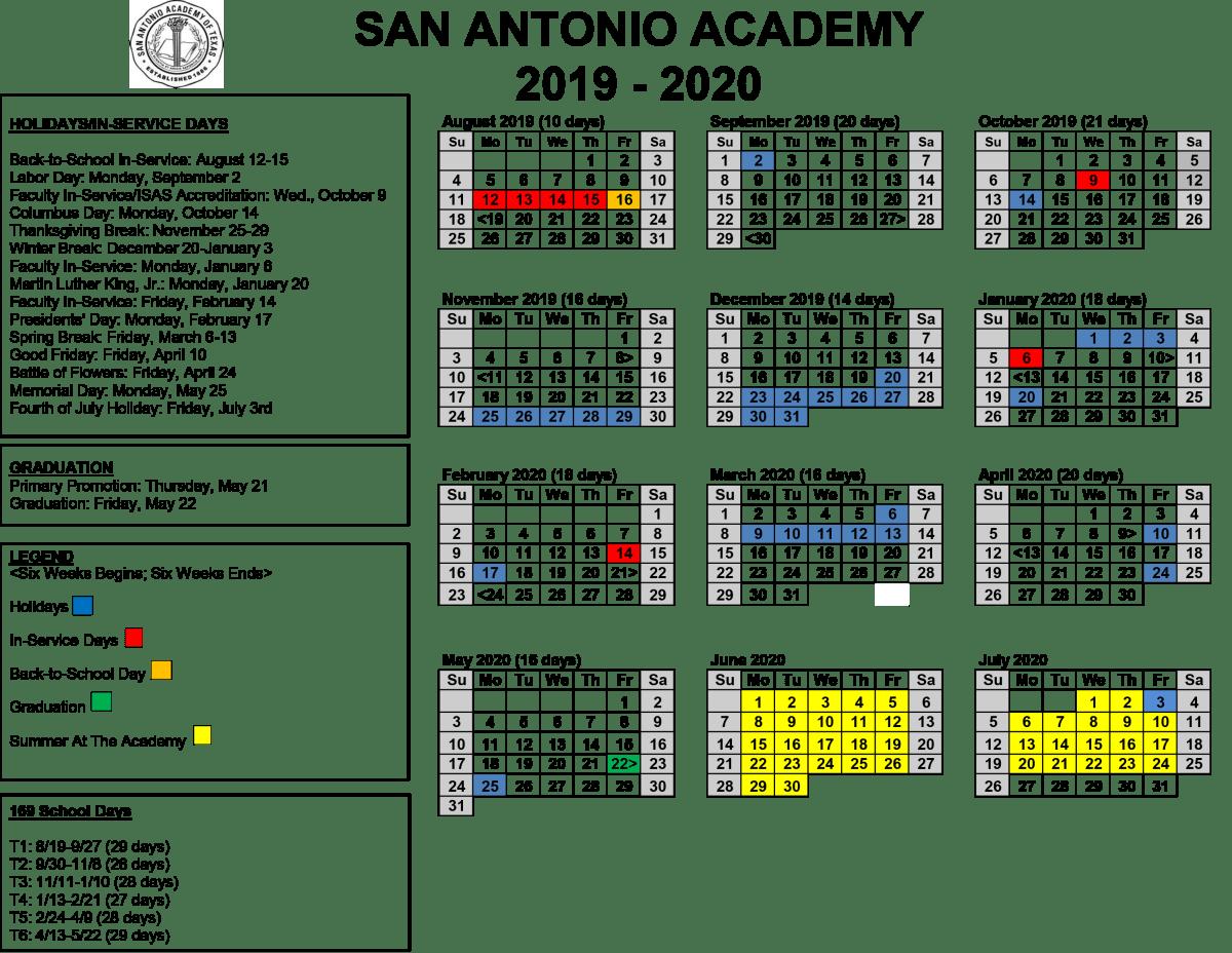 Doe Calendar 2020 18.2019 2020 Annual Calendar San Antonio Academy Of Texas