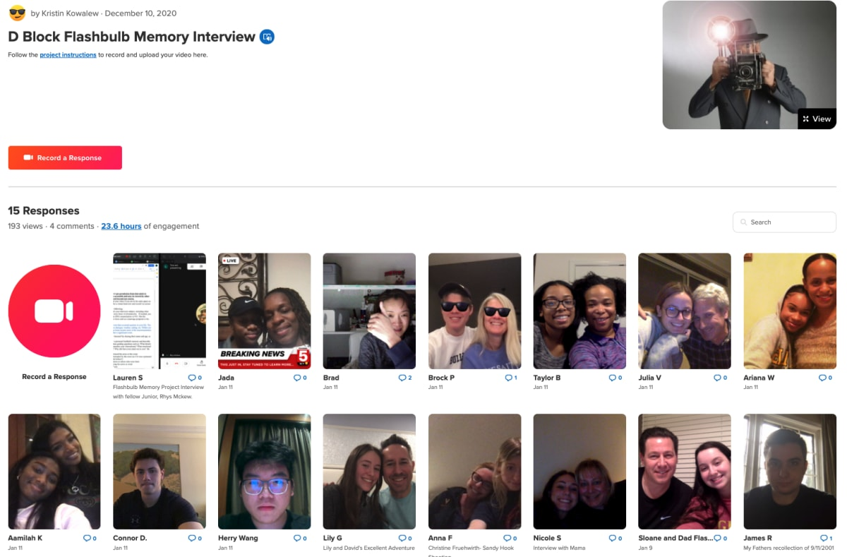 Flashbulb memory project flipgrid