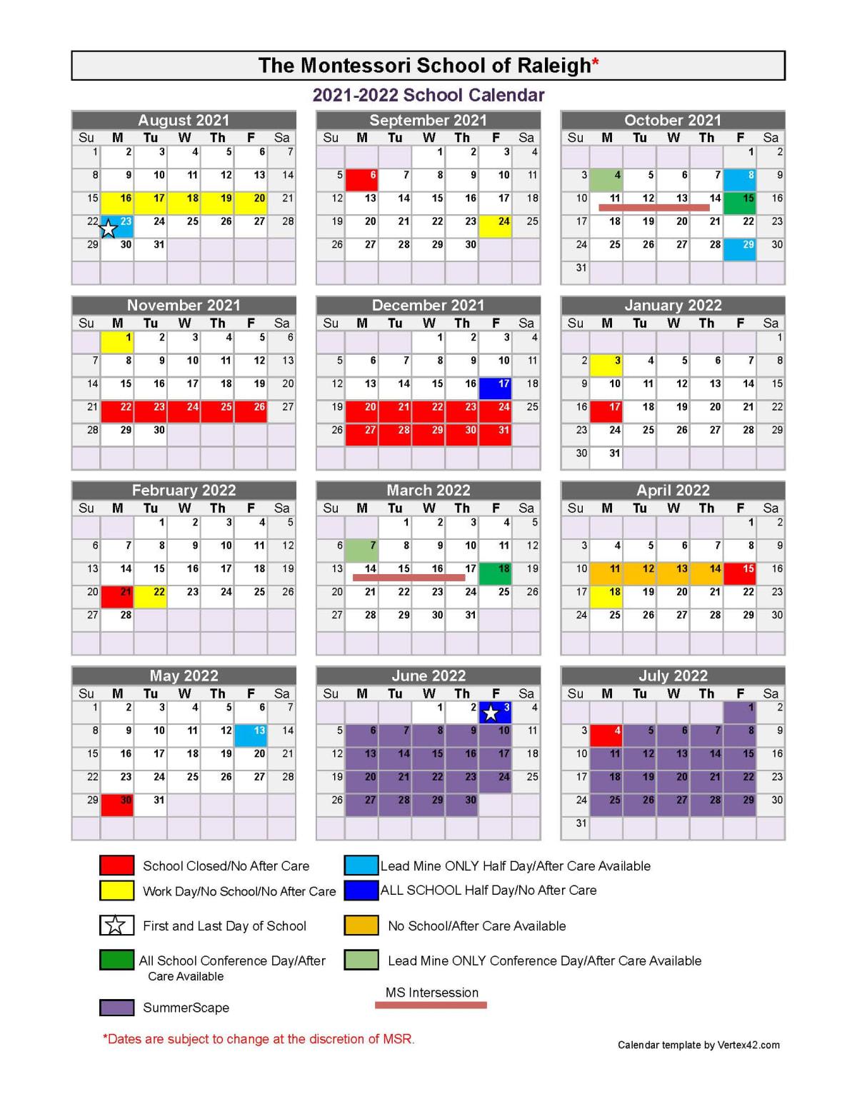 Uncg Academic Calendar Spring 2022.Academic Calendar Montessori School Of Raleigh