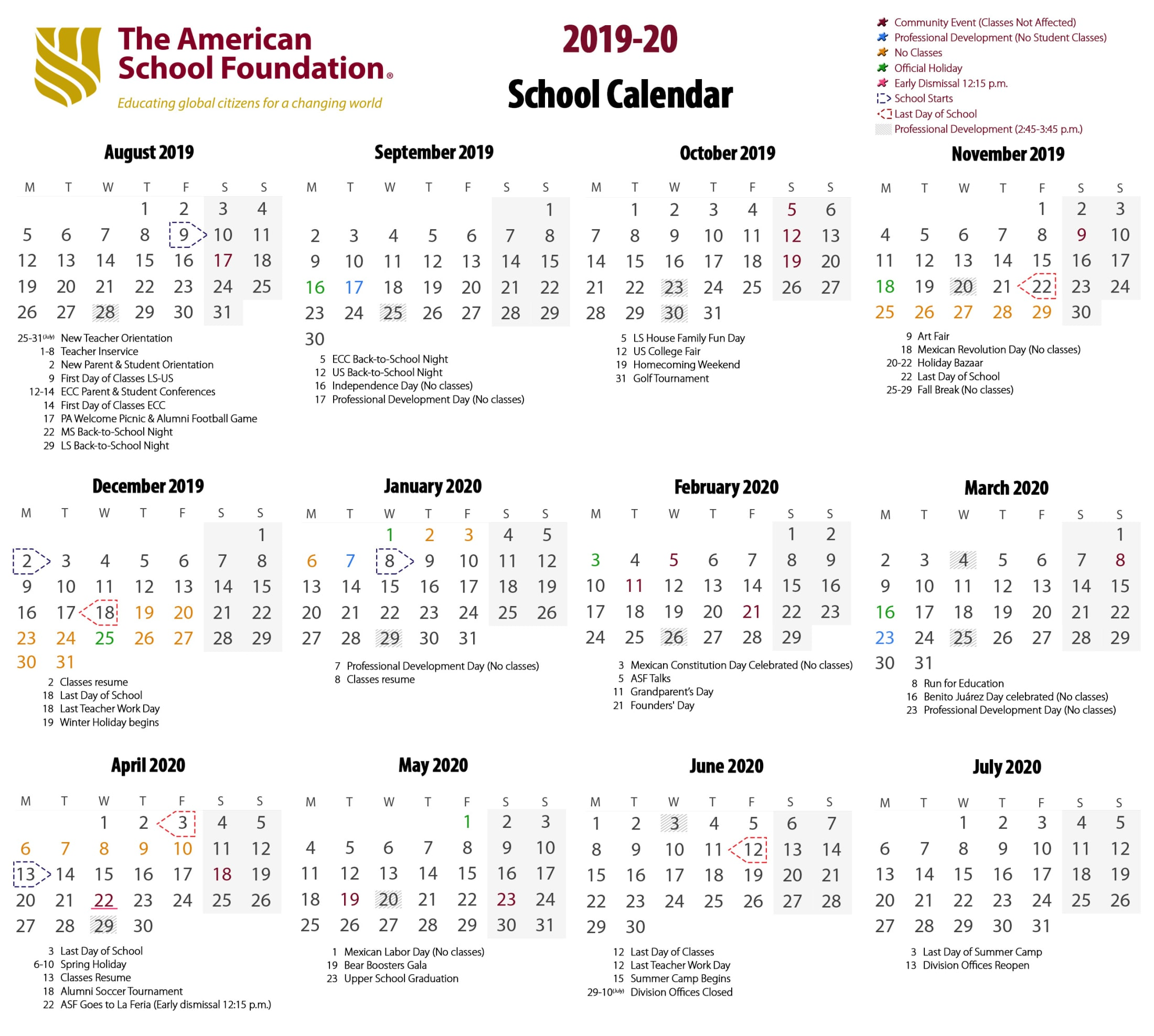 Calendario Primera Division Futbol Guatemala 2019.School Calendar The American School Foundation