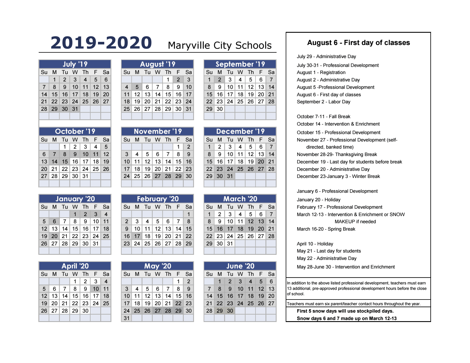 Printable Calendars 2020 May Thru December 2019 20 Calendar (print ready)   Maryville City Schools