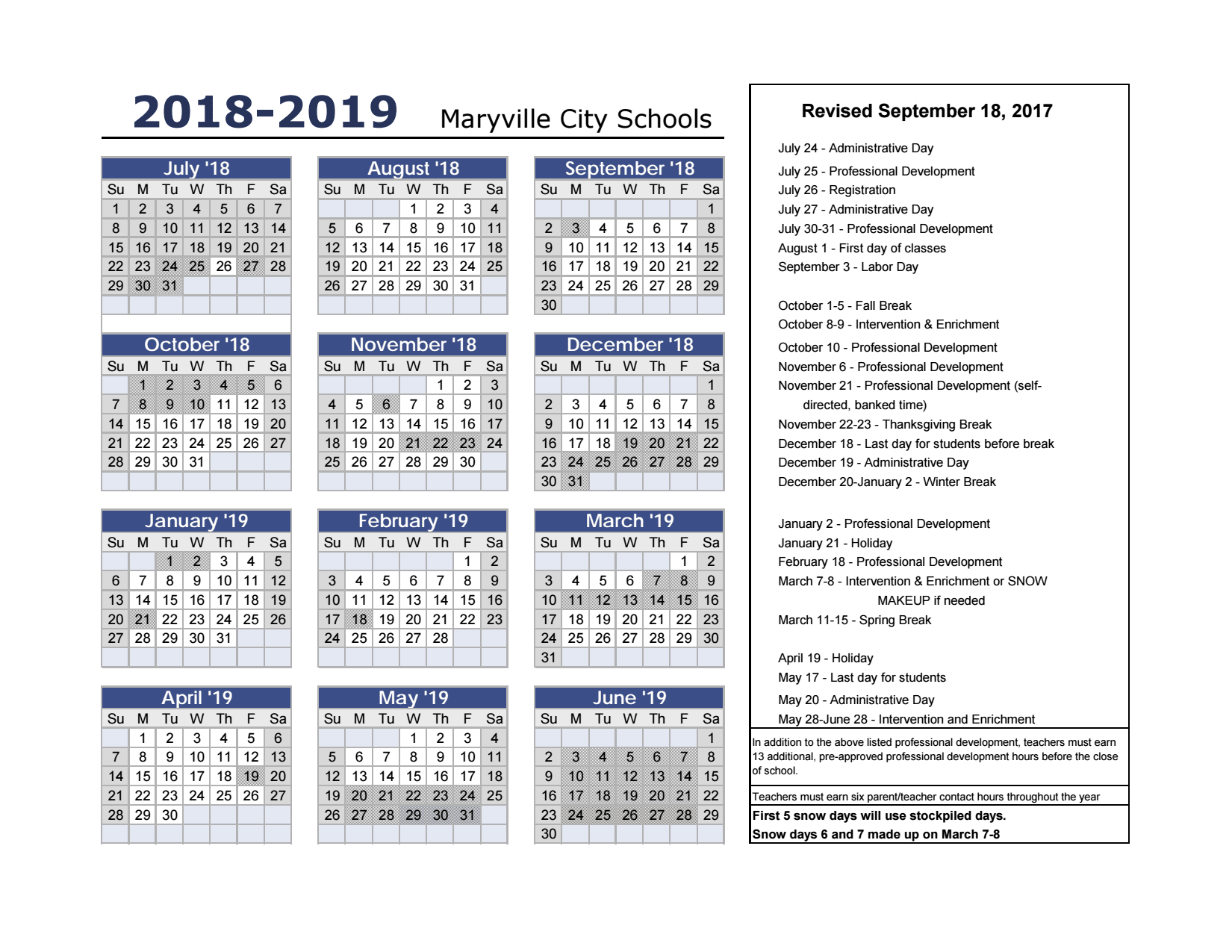 Houston County School Calendar.2018 19 Calendar Print Ready Maryville City Schools