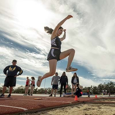 Long jumper in the air
